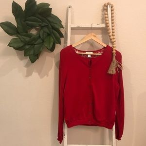 [Talbots] Red Button Up Cardigan
